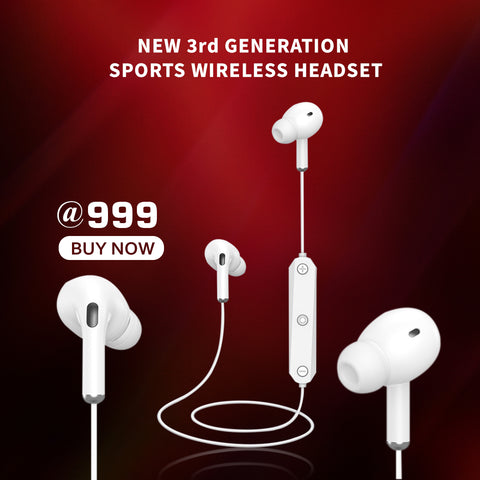 New Three Generation Sports Wireless Bluetooth Headset Stereo In-ear Headset