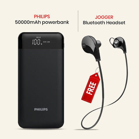 50000mAh Power Bank And Get Jogger Bluetooth Headset Free