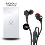 25000mAh Power Bank with free Earphone