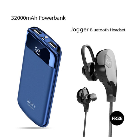 32000mAh Power Bank With Free Jogger Wireless Headset