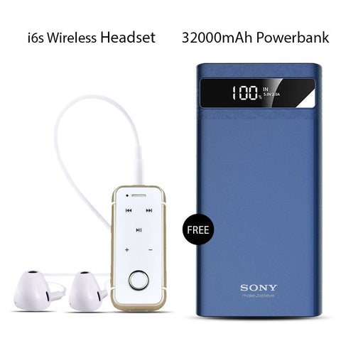 Buy Online  i6s Bluetooth Headset With Sony 32000mAh Power Bank Free