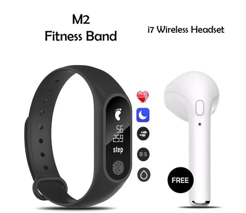 Buy Mi Plus M2 Smart Band With Free I7 Wireless Bluetooth Headset