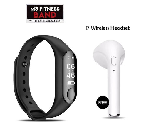 Buy Mi Plus M3 Fitness Smart Band With Free I7 Bluetooth Headset