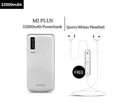 Mi Plus 32000mAH Power Bank With Free Sports Wireless Headset