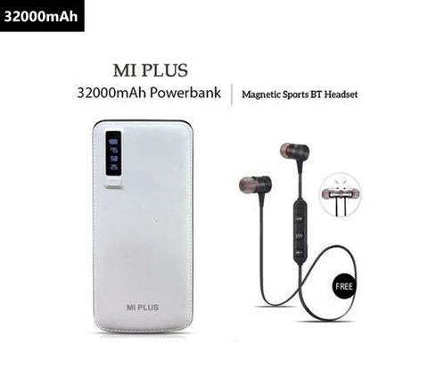 Mi Plus 32000mAh Power Bank With Free Magnetic Sports Wireless Headset