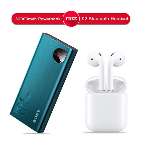 32000 mAh Power Bank + i12 Wireless Bluetooth Headset