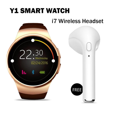 Y1 Smart Calling Watch With i7 Bluetooth Headset Free