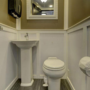 elegant wedding cottage restroom trailer
