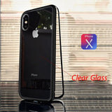 Luxury Tempered Glass And Ultra Magnetic Phone Case For Iphone 6 To Xs - Black Clear / For Iphone 7 8 - Phone Case