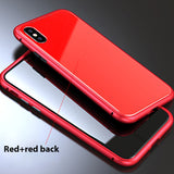 Luxury Tempered Glass And Ultra Magnetic Phone Case For Iphone 6 To Xs - Full Red / For Iphone 7 8 - Phone Case
