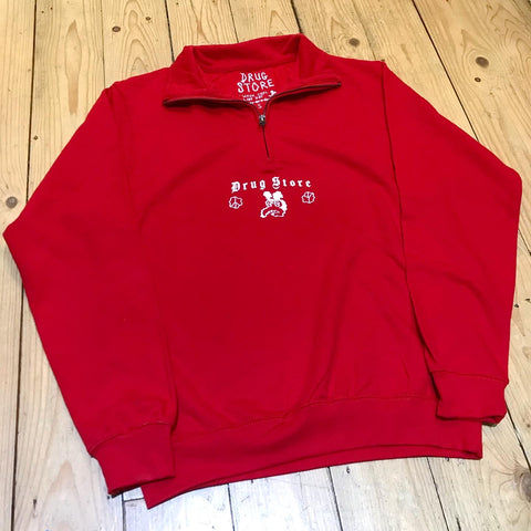 DRUG STORE Chomsky Mouse 1/4 zip red