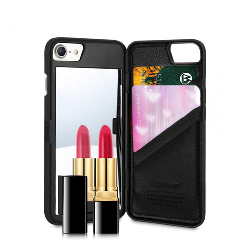 iPhone 7, Love Makeup Mirror Plus Wallet+Card Slot Cover