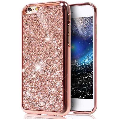 Iphone 7 Plus Case Rose Gold Glitter Bling Soft Tpu - Trijen
