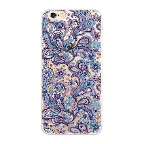 Iphone 8 Plus Soft Tpu Cover Blue And Purple Paisley - Trijen