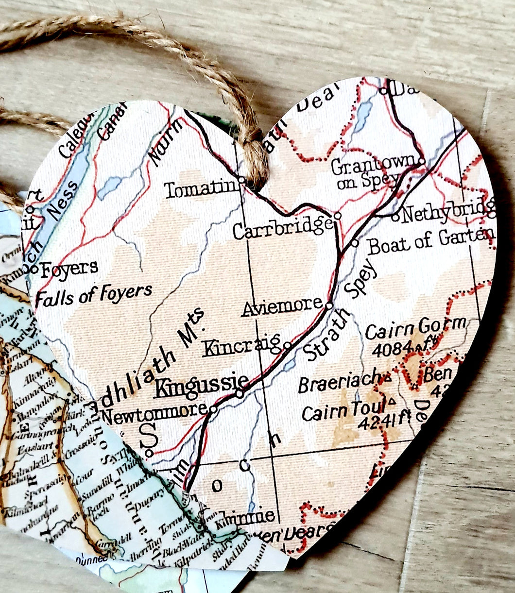 Hearts with Map - Strathspey and Kinguissie