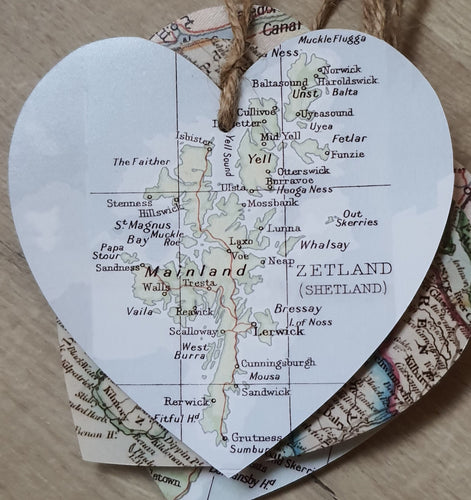 Hearts with Map - Sheland Islands