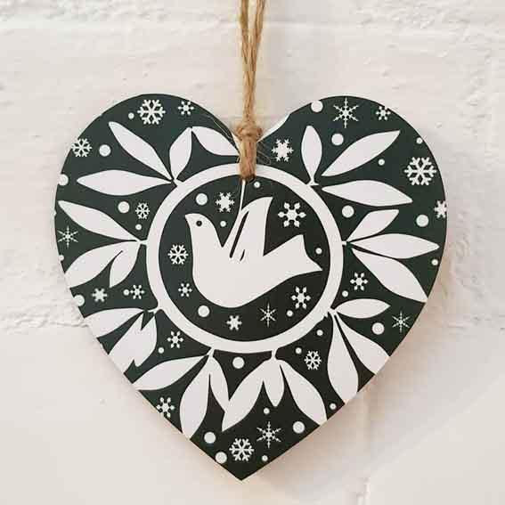 Christmas Heart Green Dove Design