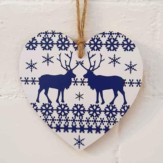 Christmas Heart Blue Reindeer Design