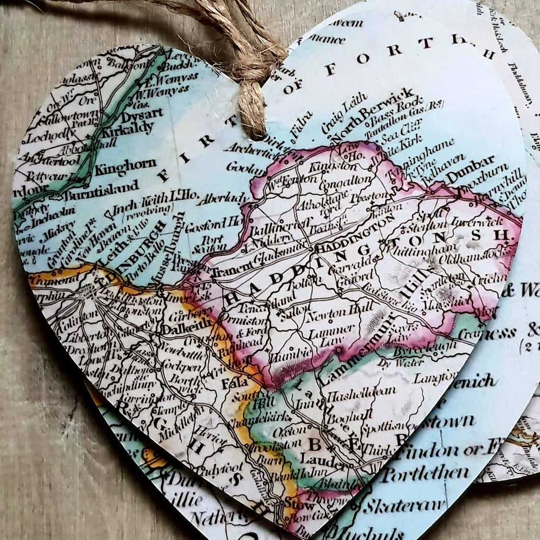 Hearts with Map - East Lothian Coast