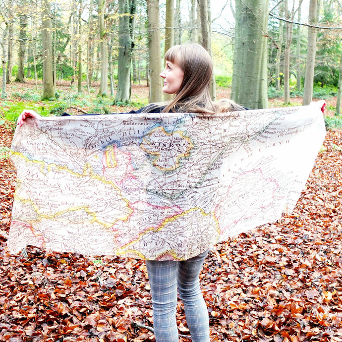 Silk Scarf - Glasgow to East Coast inc East Lothian and Kinross and Fife