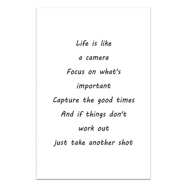 "Tableau ""Life is like a camera"""