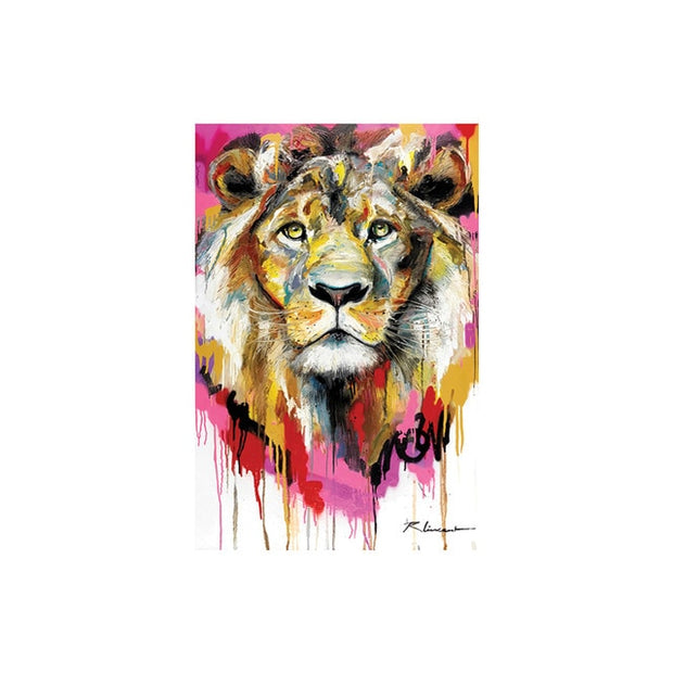 Tableau lion pop art couleur