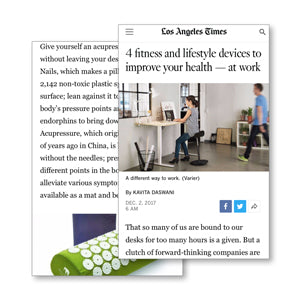LA Times Los Angeles Times Bed of Nails feature 4 fitness and lifestyle devices to improve your health — at work bed of nails relieve stress and insomnia acupressure mat and pillow products benefits include pain management stress relief mindfulness healthy modern day acupressure session at home