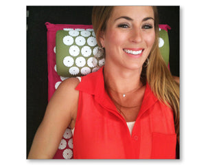 Tenley Molzahn Leopold on bed of nails acupressure mat and pillow products benefits include pain management stress relief mindfulness healthy modern day acupressure session at home