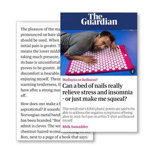 the guardian bed of nails feature press media rhik samadder Rhik Samadder whatsamadder bed of nails relieve stress and insomnia acupressure mat and pillow products benefits include pain management stress relief mindfulness healthy modern day acupressure session at home