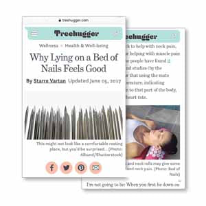 Treehugger Why Lying on a Bed of Nails Feels Good Acupressure Mat Pillow stress pain relief relaxation tension