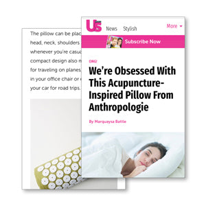 US weekly magazine feature We're Obsessed With This Acupuncture-Inspired Pillow From Anthropologie bed of nails acupressure mat and pillow products relieve stress and insomnia benefits include pain management stress relief mindfulness healthy modern day acupressure session at home