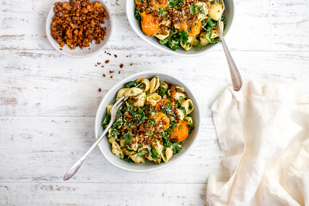 Roasted Garlic Caesar Kale Pasta Salad