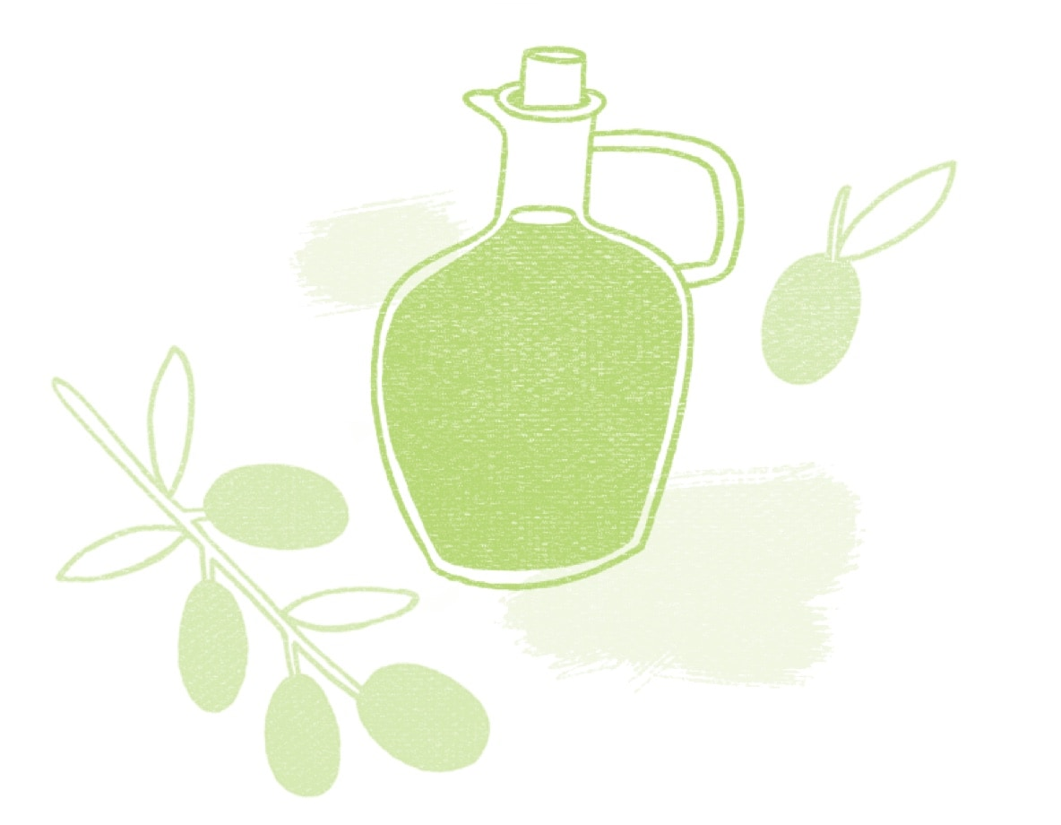 Textured illustration of a small pitcher of olive oil