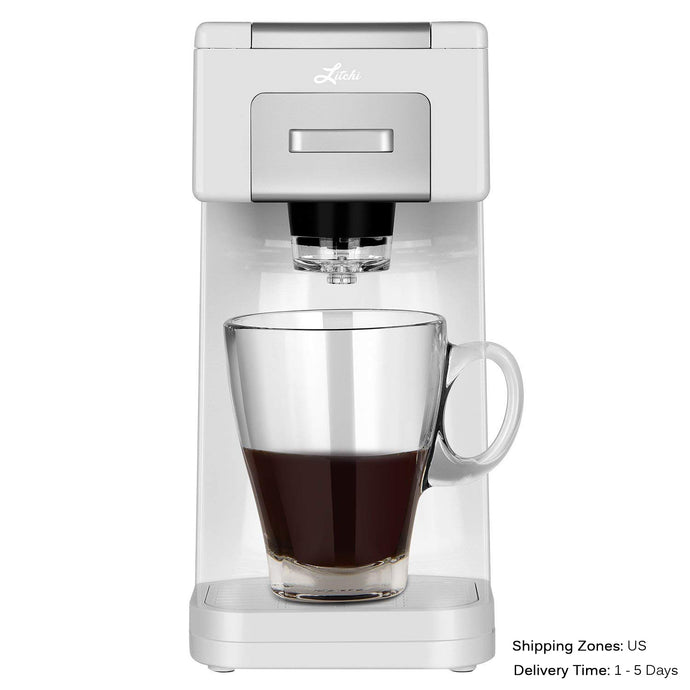 Litchi Single Serve Coffee Maker, White