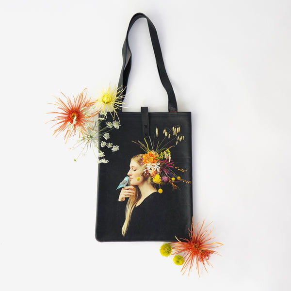 Limited Edition Printed Leather Tote Bag - Ms October