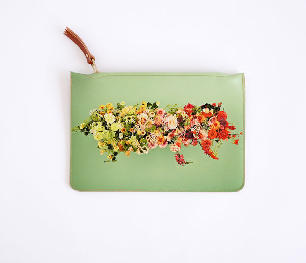 Limited Edition Printed Clutch Bag - Floral Cloud