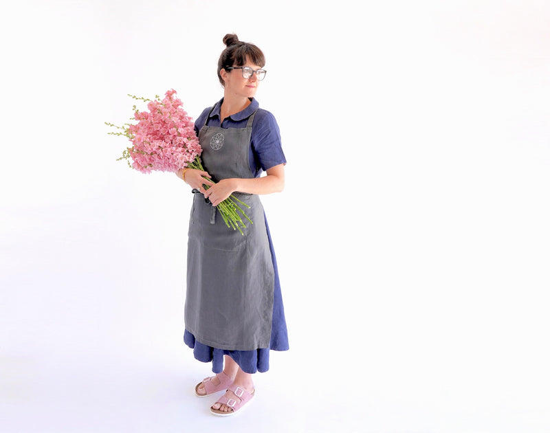 Electric Daisy Flower Farm - Linen Apron