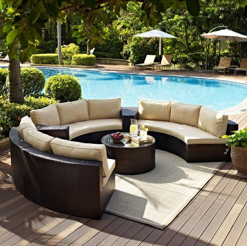 Outdoor Lounge 6 Piece Wicker Curved Sofa Set
