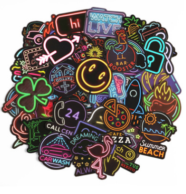 50 Neon Light Stickers