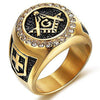 18K Gold-Plated Cross Shield Masonic Ring