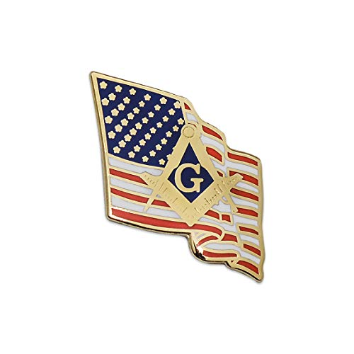 American Flag with Square & Compass Masonic Lapel Pin - SolomonsOrder