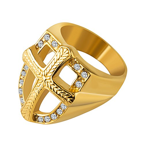 Gold Shield & Cross Knight's Templar Ring - SolomonsOrder