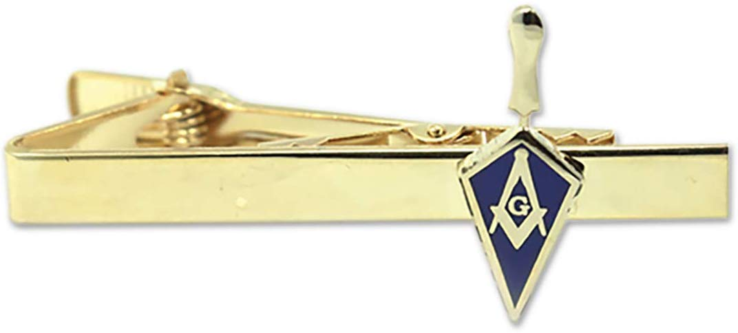 "Trowel with Square Compass Blue & Gold Masonic Tie Clip - 1"" Tall - SolomonsOrder"