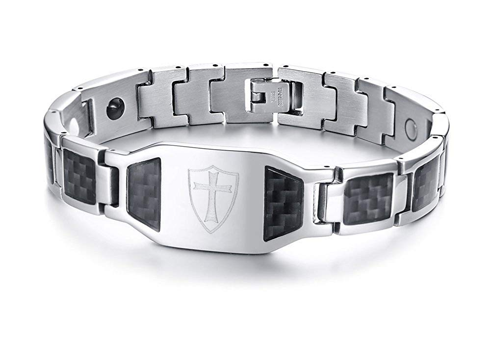 KNIGHTS TEMPLAR CROSS SHIELD MAGNETIC THERAPY BRACELET - SolomonsOrder