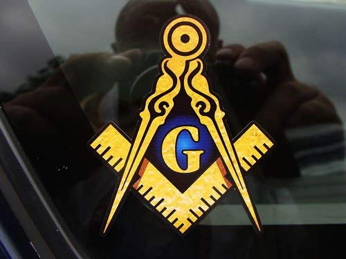 "Masonic Series Freemason Compass Square Decal Sticker 4"" - SolomonsOrder"