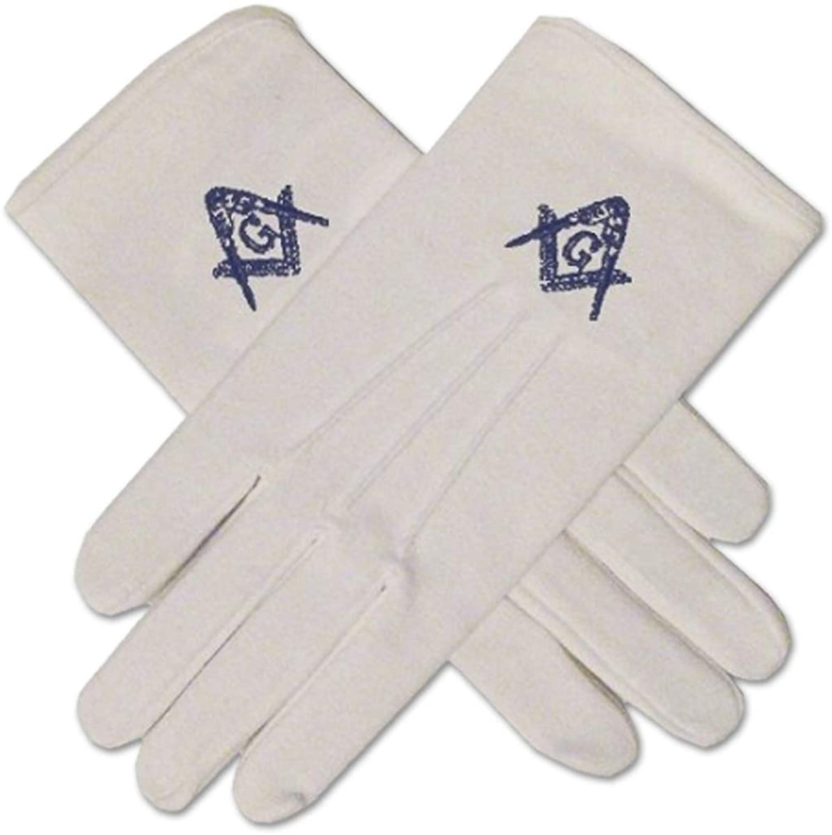 Masonic Embroidered Cotton Gloves