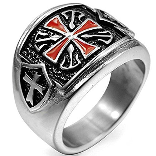 Retro Crusader Cross Knight's Templar Ring - SolomonsOrder