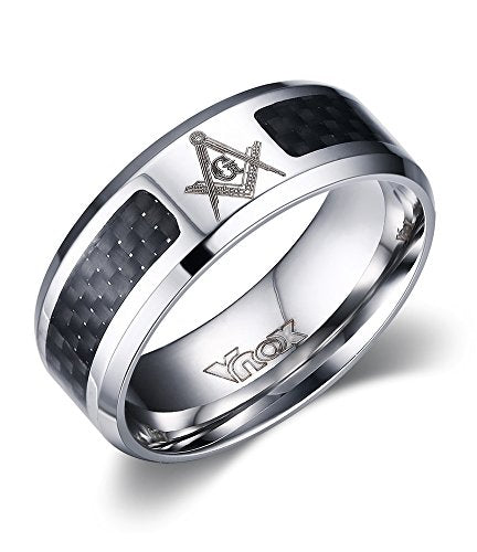 Masonic Stainless Steel Black Carbon Ring - SolomonsOrder