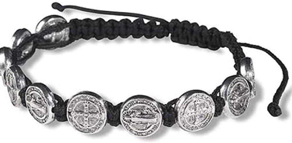 Saint Benedict Medal on Adjustable Black Cord Wrist Bracelet - SolomonsOrder