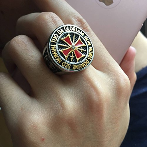 Red Cross Crest Knight's Templar Ring - SolomonsOrder
